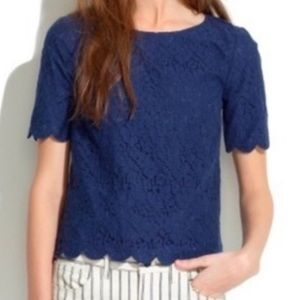 Madewell navy lace scalloped cropped blouse